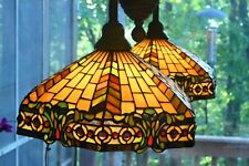Kichler Tiffany Style Lamp Hanging Chandelier Lighting Stained Glass Dual Light