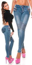 Sexy KouCla BikerLook Skinny Jeans Hose m. Zips + Ziernaht