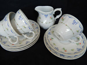 Vintage Royal Worcester 'Ribbons & Bows' Part Teaset Cups Saucer Plates Milk Jug