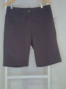 New Apostrophe Womens 6 Chino Shorts Brown Stretch Pockets Flat Front