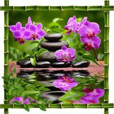 Sticker autocollant Cadre bambou Fleurs et Galets Zen 7206 7206