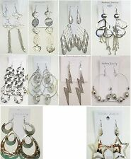 SU-6 Wholesale lot10 pairs Fashion  Big Dangle Silver Plated  Earrings US-SELLER