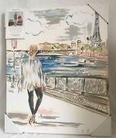 CKD Colleen Karis Canvas Wall Design Art Paris Eiffel Tower Girl Travel 16x20 1