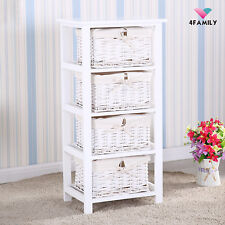Wood Nightstand Table End Side Bedside Table Dresser Chests with Basket Storage