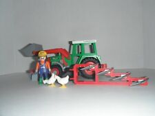 PLAYMOBIL #3718 Farm Tractor Front Loader Sweeper Attachments COMPLETE Excellent