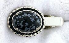 Gemstone Silver Color Tie Clip Bar 1 1/2 Inch 18x13 Oval Snowflake Obsidian