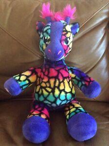 Build-A-Bear Wild Style Multicolor Rainbow Giraffe Stuffed Plush Animal Heart