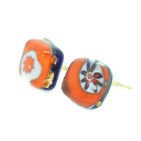 Murano Glass Earrings Orange White Gold Millefiori Handmade Venice Stud Square