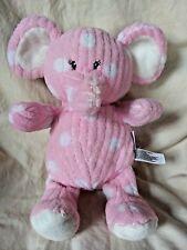 "Babies R Us Pink White Polka Dot Elephant Soft Plush Animal Rattle 11"" Tall 2013"