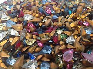 Vintage Pear shape Rhinestones Mixed size colour Bargain x50 CRAFT Post Free