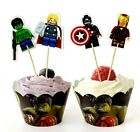 LEGO AVENGERS CUPCAKE TOPPERS & WRAPPERS 24 PCS / BIRTHDAY KIDS SUPERHERO