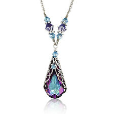 Vitrail Light Pendant Silver-Tone Filigree Necklace with Crystal by SwarovskiI