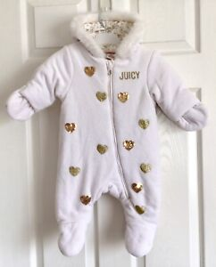 Juicy Couture Baby Girl`s Plush Sherpa Pram, Bunting All-in-One Snowsuit 0-3mths