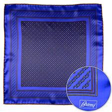 Mens BRIONI Blue Gold Circles Silk Hand Rolled Pocket Square Handkerchief Hanky