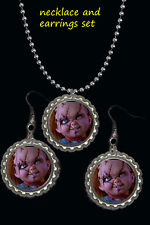 Chucky scary Halloween earring and necklace set great gift a must have