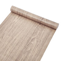 10m Grey Wood Grain Wallpaper Vinyl Self Adhesive Furniture Film Wall Stickers