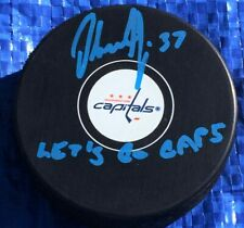 Olaf Kolzig signed Puck Washington Capitals Let's Go Caps Inscription (Blue)