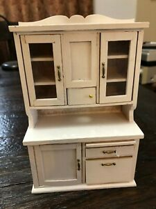 DOLLLHOUSE MINIATURE Kitchen hutch with many shelves doors and cutting board