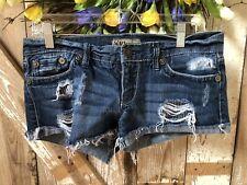 YMI Denim Blue Distressed Short Shorts Sz 5 Jean