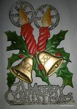 FROHE WEIHNACHT  MERRY CHRISTMES Fensterbild Weihnachtsschmuck geprägte Pappe 2