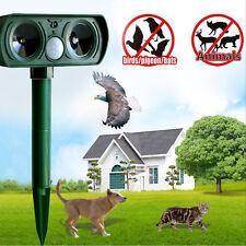 Solar Power Dual Ultra Sonic Garden Pest Repeller Cat Dog Fox Animal Deterrent