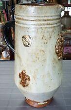 Mid 20th Cent. Belgian Roger Guerin Pottery Stoneware Fleur de Lis Motif Pitcher