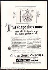 1925 GRUEN Guild Pentagon Pocket Watch Antique Print Ad w/orig prices