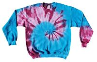 TIE DYE Jumper Blue & Pink Tye Die T shirt Top Sweater Festival Fashion Rainbow