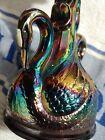 """Swan FENTON candlestick Cobalt Irridecent blue 7"""" art glass rare mint perfect"""