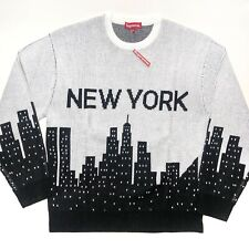 Supreme New York Knit Sweater Black White Size Medium  New In Hand SS20