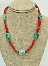 Sterling Silver Natural Beads Turquoise, Coral Necklace 19 1/2 inches