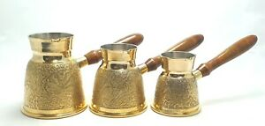 Set of 3 Handmade TURKISH COFFEE POT MAKER Greek Stove Top CEZVE IBRIK Jezve