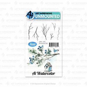 Watercolor Branch Branches Set Cling Rubber Stamp Set Art Impressions 4964 New