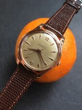 14k Solid Gold 1950s Vintage Doxa Swiss Mens Dress Watch 35,2mm