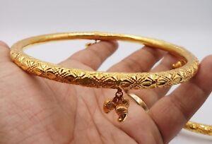 GOLD ANKLET 22K GOLD HANDMADE KADA BANGLE DETAILED DESIGN ANKLET TRIBAL JEWELRY