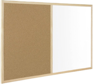 Dual Large Cork Notice Pin Board and Whiteboard Office Home Pictures Reminders
