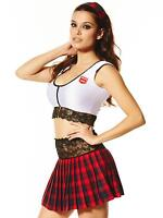 Ann Summers School Girl Fancy Dress Outfit Text Book Tease White/Red Costume