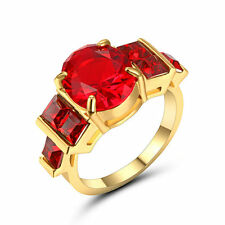 Size 8 Gold Plated Red Ruby Stone Ring Wedding Cluster Cocktail Anniversary
