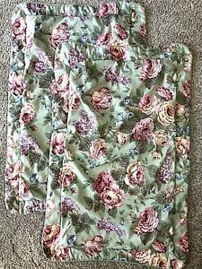 """2 Laura Ashley Queen Pillow Shams Green Pink Floral Roses Lilacs 20x32 3"""" Flange"""