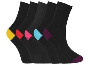 5 Pairs Boys Black Socks Cotton Blend Color Heel Toe Sock Casual Sock Size 4-6