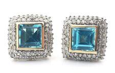 14K Two Tone Gold Princess Cut 3.00 CTW Blue Topaz & Diamond Halo Stud Earrings