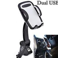 Universal Mobile Phone Dual USB Car Cigarette Lighter Stand Mount Holder Charger