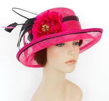 New Woman Church Derby Wedding Sinamay Ascot Dress Hat SDL-004 Hot Pink / Black