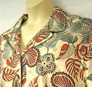 3X 2X Floral Tropical Camp Shirt Button Top Blouse Sage Orange Short Sleeve