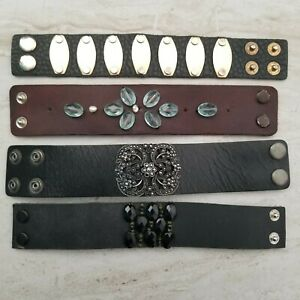 "Lot of 4 Leather Wrap Cuff Bracelets Black Brown Koel Handmade 6"" 6.25"" wrist"