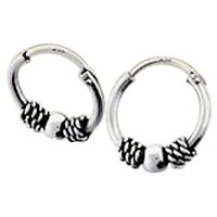 Pair Of Sterling Silver ( 925 ) Bali Ball  Hoop Earrings 10  mm  !!     New !!