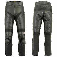Mens Leather Motorcycle Pants Slim Heavy Duty Lining Biker Jeans Trousers Black