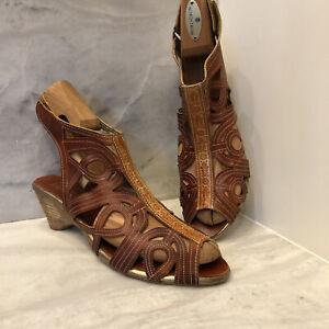 L'ARTISTE Spring Step Flourish Brown Leather Heels Sandals EU 41 US 9.5 10