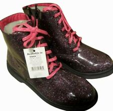 Girls UK 11 Kids Pink Glitter Mid Sparkle Boots Childrens Sparkly Lace Up Casual
