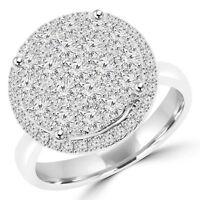 1.53 CT VS1 F ROUND DIAMOND COCKTAIL RING 18K WHITE GOLD
